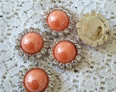 5 FLAT BACK Coral Pearl & Clear Rhinestone 18mm Button Bow Making and other Craft projects