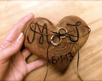 Rustic Wedding Ring Bearer Pillow - Ring Bearer - Wooden Heart Ring Bearer