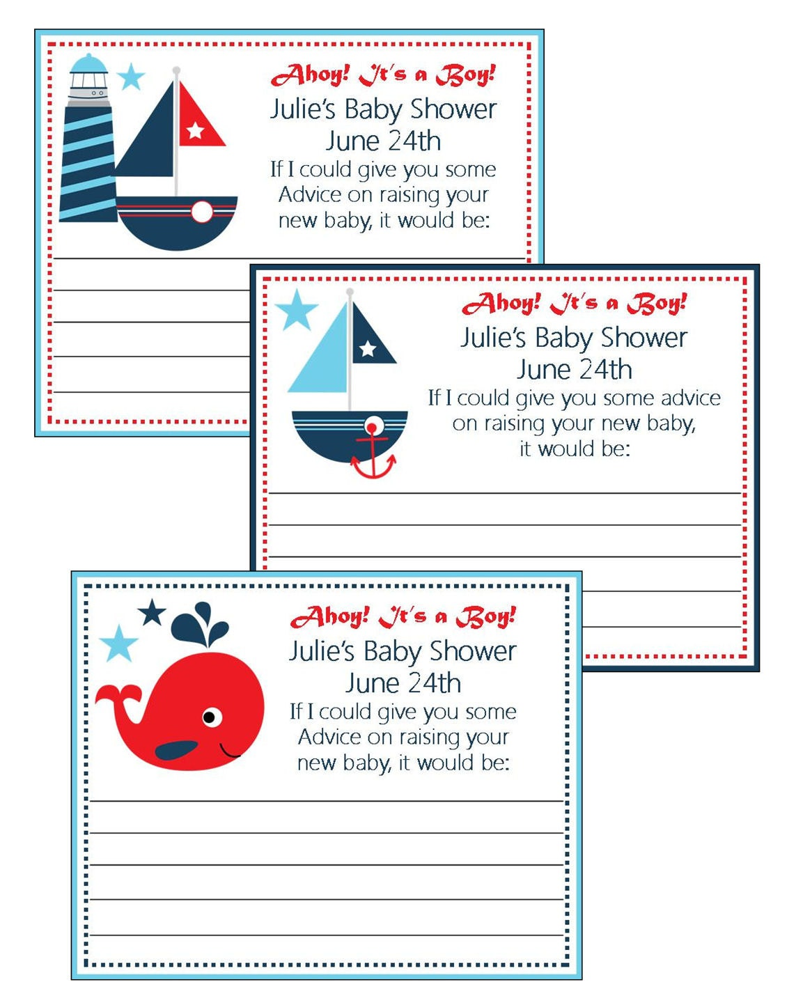 baby shower nautical theme boy advice cards personalized