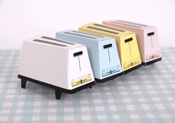 TOASTER - Retro Vintage Favor Boxes - Printable DIY Wedding Favor Gift Boxes - Pastels - White, Blue, Pink, Yellow