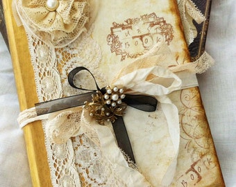 Wedding Guest book - Gold, Ivory, black and pearls in vintage style - Custom made