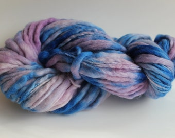 Lilac/ Blue Multi Color Hand Spun, Hand Dyed  Thick and Thin   Super Chunky Wool Yarn