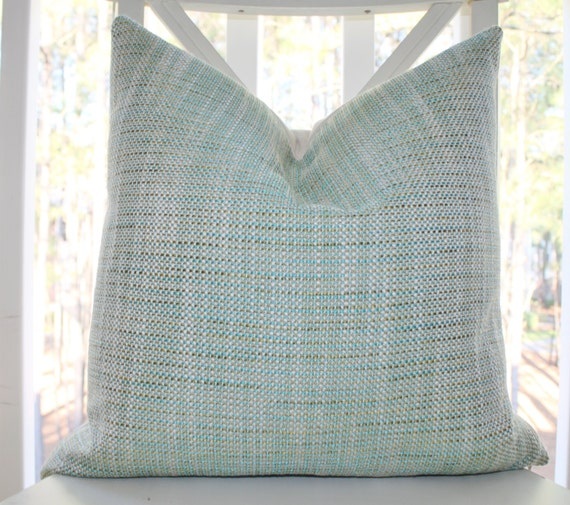 Decorative Pillow Cover - Aqua Blue Green Ivory Woven Pastel Pillow Cover - Teal Blue Green Throw Pillow