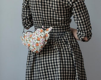 Heart Bag Small Bag Chain Purse Pastel Orange Floral Orange Purse Floral Print Boho Chic Romantic Flowers Shabby Chic Winged Heart Mini Bag