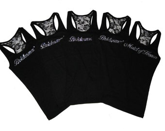 5  Bridesmaid Tank Top Shirt. Bridal Party Lace Tank Top. Bride Tank Top Shirt. Maid of Honor. Mother of the Bride. Wedding Party Clothes.
