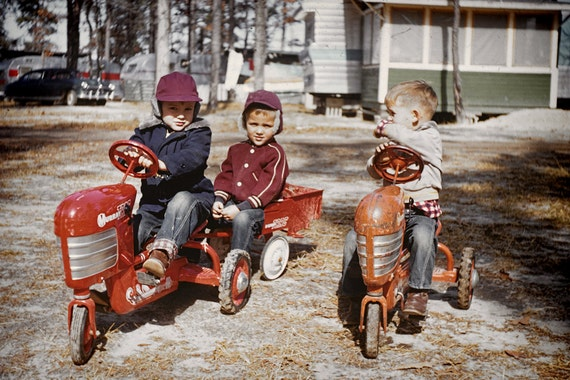 Vintage Photo: Before Video Games--Boys Playing with Retro 50's Toy Tractors