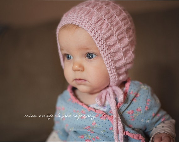 Knitting Pattern For Vintage Baby Bonnet : Vintage style baby bonnetHand knit baby girl hat.Pink Alpaca
