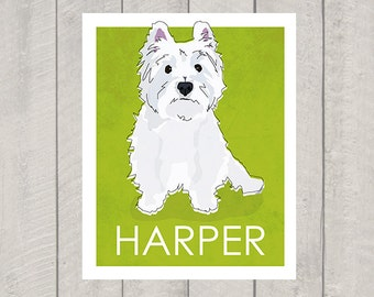 Westie Dog  Art Print - Custom Dog Art