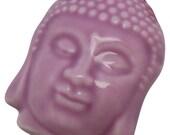 2 Purple Porcelain Buddha Beads