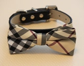 Plaid Burly wood bowtie Dog Bow Tie attached to leather collar, Chic Dog Bow tie, Wedding Dog Collar, Dog Lovers, dog collar