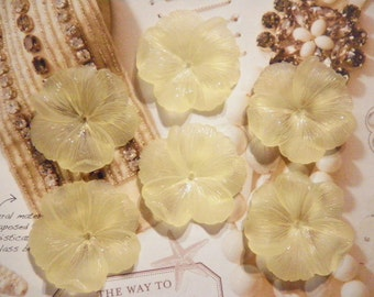 6 Vintage Lucite 43mm Lt. Yellow Flower Caps With Hole