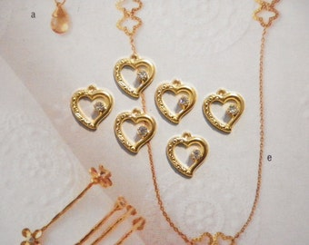 6 Vintage Goldplated 14mm Open Heart Pendants with Rhinestone