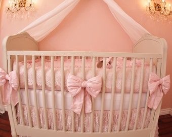 THE DANIKA COLLECTION: Silk & Lace Crib Bedding, Baby Girl, Bows, French Lace, Crib Bedding Set, Nursery Design, Baby Bedding, Pink Bedding