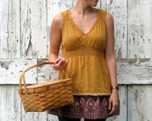 Go for the Gold upcycled indie sleeveless summer boho tunic top eco friendly shirt