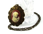 Young Lady Holding Hair Cinnamon Victorian Cameo