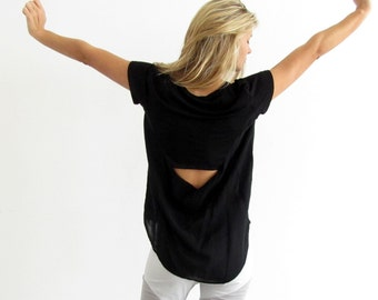 Black Blouse- Open Back Top- Black women's shirt- loose shirt- Short Sleeve Shirt