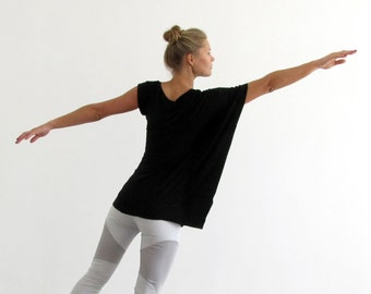 Summer Asymmetrical  Shirt, Black Summer Shirt