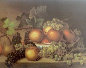 Fruit by American Artist James Peale Vintage Art Print, 1966