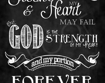 Scripture Art - Psalm 73:26 Chalkboard Style