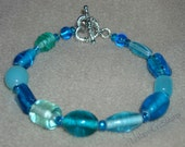 Blue Glass Bracelet: Ice Blue, Bright Blue, with silver toggle clasp