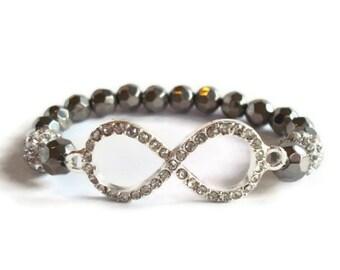 Rhinestone Infinity Beaded Stretch Bracelet