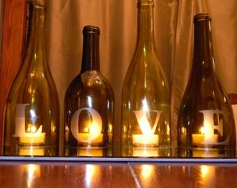 LOVE - Wine Bottle Centerpiece or Mantle Accent