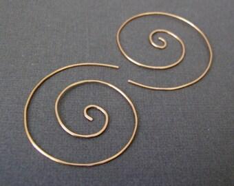 "Gold Spiral Earrings 1.75"" - swirl earrings hoop earrings nautilus add a dangle 14k gold-filled fun hammered Eco-Friendly Gift"