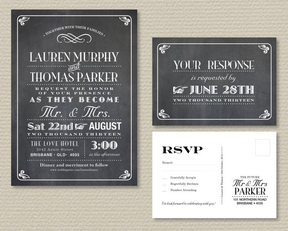 Wedding Invitations With Rsvp Postcards: Printable Wedding Invitation & RSVP Postcard Vintage Poster