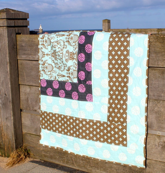 Modern patchwork baby Quilt, Sofa Throw or Lap Quilt in Pale Blue