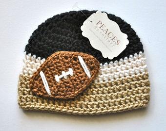 Football Beanie - Black, White & Tan Baby Football Hat ( newborn gift preemie hat newborn costume babyshower newborn beanie baby hats )