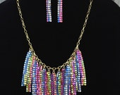 Mesh Fringe Necklace-Bib-Multicolored-One of a Kind-Hand Made-Designs by Stalinda
