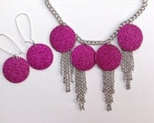 Pink Glitter Statement Necklace-Bib Necklace-Fringe-Chunky-One of a Kind-Hand Made-Designs by Stalinda