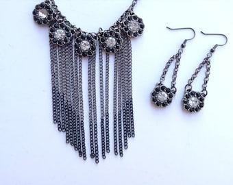 Fringe Statement Necklace-Flower Necklace-Black & White Necklace-One of a Kind Original-Designs by Stalinda