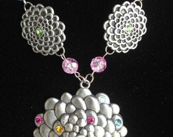 Flower Necklace-Spring-Chunky Necklace-Statement Necklace-Hand Made-One of a Kind-Designs by Stalinda