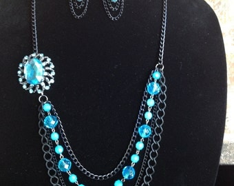 Black Statement Necklace-Turquoise-Layered Necklace-Mutistrand Necklace-Hand Made-One of a Kind-Designs by Stalinda