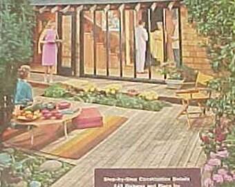 1963 how to build DECKS for outdoor living MID CENTURY modern landscape design book