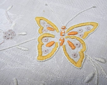 Vintage Embroidered Butterfly Tea Towel