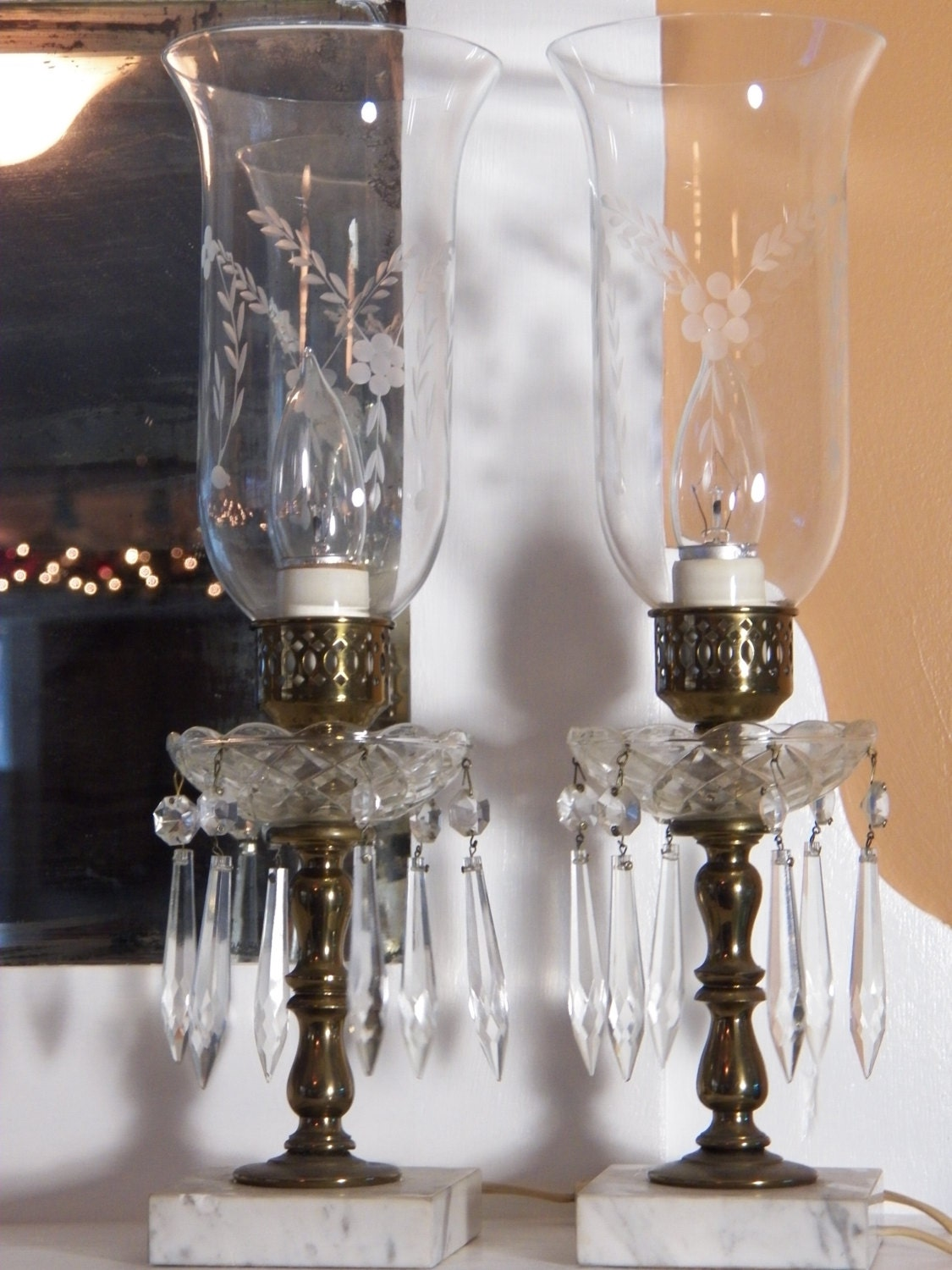 antique pair crystal table lamps brass and marble base. Black Bedroom Furniture Sets. Home Design Ideas