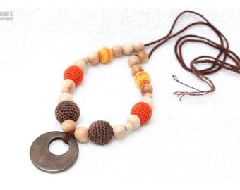 Breastfeeding mom necklace - Teething necklace - Nursing necklace - orange, brown, wooden ring