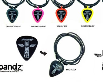 "Guitar Pick Necklace by Pickbandz pick holder - select a pendant color and ""Just Pop In Your Pick"" free Pickbandz pick included"