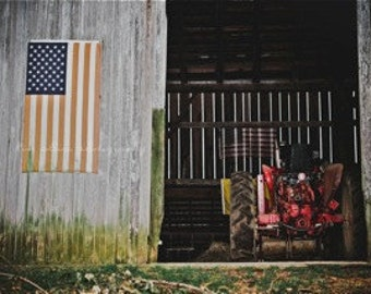 Old Glory &The Barn COLOR-Fine Art Photography-Multiple Sizes Available, Barn, Tractor,American Flag