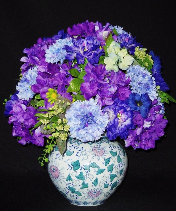 Silk Flower Arrangement Blue with Lavender Carnations Purple