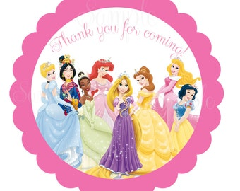 """Disney Princess  Inspired or Tea Party Personalized Stickers  2"""" -printable file"""