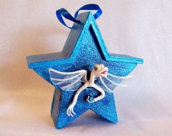 Baby Dragon Art Doll: White Dragon Baby in Turquoise Star Birdhouse