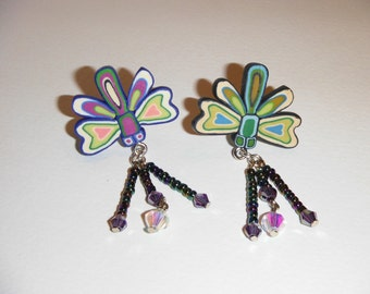 Polymer Clay, Dragon Fly studded dangle earrings