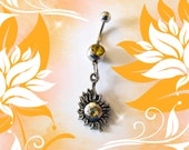 Belly Ring, Antique Silver Sun of Life, With Yellow Crystal, Belly Button Ring, Belly Button Jewelry For Women and Teens