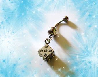 Belly Ring, One Lucky Silver Dice With Crystals, Belly Button Ring, Belly Button Jewelry For Women and Teens