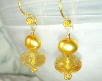 Citrine & lemon pearl earrings, gold vermeil jewelry