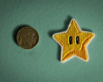 Tiny Star Power -- Embroidered Iron-on Nintendo Throwback NES Invincibility Star Mario Brothers