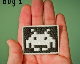 Choose 1 Space Invader Bug -- Embroidered Iron-on Space Invaders Patch